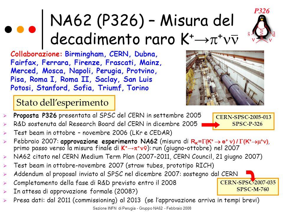 Sezione INFN di Perugia - Gruppo NA62 - Febbraio 2008 Proposta P326 presentata al SPSC del CERN in settembre 2005 R&D sostenuta dal Research Board del