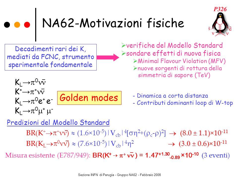 Sezione INFN di Perugia - Gruppo NA62 - Febbraio 2008 Cinematica BR(SM) = 8×10 -11 Accettanza segnale 10% Decadimenti di K ~ 10 13 Tecnica del decadimento in volo del K Fascio intenso di protoni dal SPS K di alta energia (P K = 75 GeV/c) Contatore Cerenkov per identificazione del K Kaone: tracciatore di fascio Pione: Spettrometro Calorimetro per rivelare / RICH (separazione ) Spettrometro per eliminare le particelle cariche K K+K+ m 2 miss =(P K P ) 2 Basso livello di fondo Proposta: 65 eventi/anno K + (S/B ~8) NA62 – linee guida Contatori di veto Identificazione di particelle