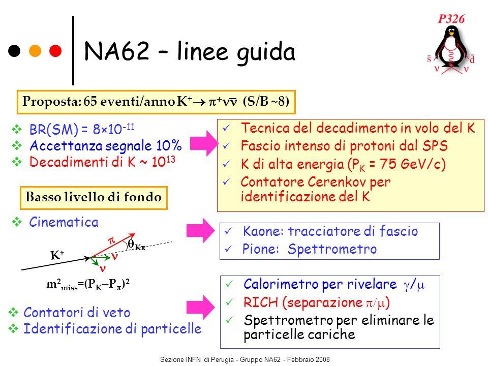 Sezione INFN di Perugia - Gruppo NA62 - Febbraio 2008 Cinematica BR(SM) = 8×10 -11 Accettanza segnale 10% Decadimenti di K ~ 10 13 Tecnica del decadim