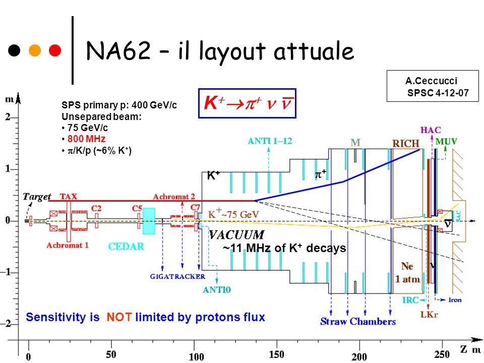 Sezione INFN di Perugia - Gruppo NA62 - Febbraio 2008 CEDAR: Cherenkof differenziale per lidentificazione del K positivo nel fascio (50MHz) GIGATRACKER: Tracciamento del fascio (Si micropixel) a monte della regione di decadimento (800 MHz) LAV: Veto per fotoni a grandi angoli (vetro al piombo) CAMERE A STRAW: Spettrometro basato su 4 stazioni di camere a tubi straw per tracciare i prodotti di decadimento del K (~10 MHz) RICH: Ring Image Cherenkov, per rivelare il pione proveniente dal K positivo, distinguere muoni da pioni e per trigger veloce LKR: Veto per fotoni in avanti e calorimetro elettromagnetico (calorimetro a LKr di NA48) MUD e sweeper: rivelatore per muoni (calorimetro adronico di NA48 con ferro e piano di scintillatore per trigger veloce) con magnete deflettore del fascio non decaduto IRC/SAC: Veto per fotoni ad angoli piccoli e intermedi NA62 – i rivelatori