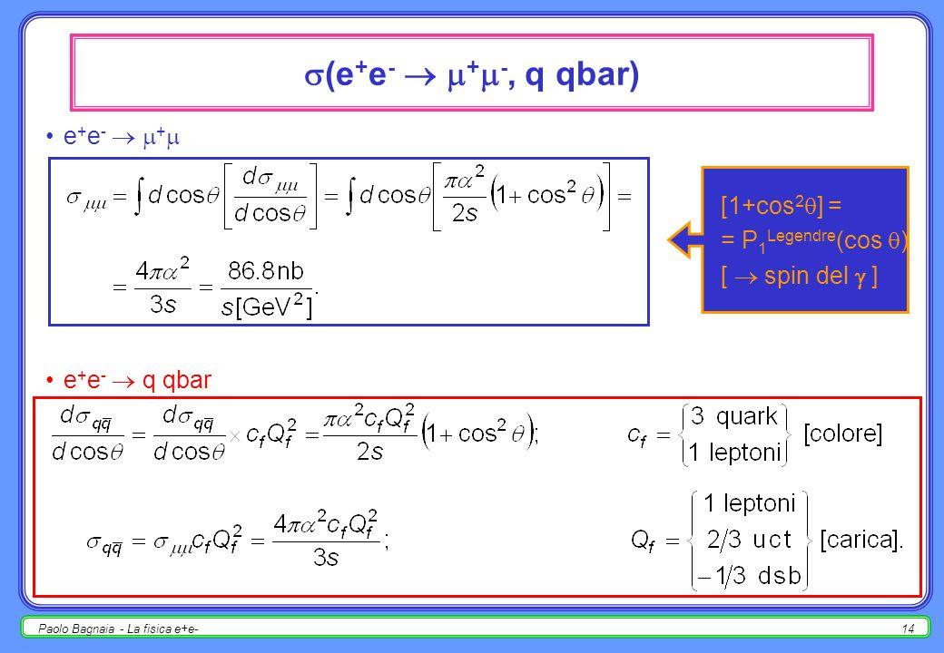 Paolo Bagnaia - La fisica e+e-13 sezioni durto in QED s = 1 GeV e ± e ± e + e - e + e - + -