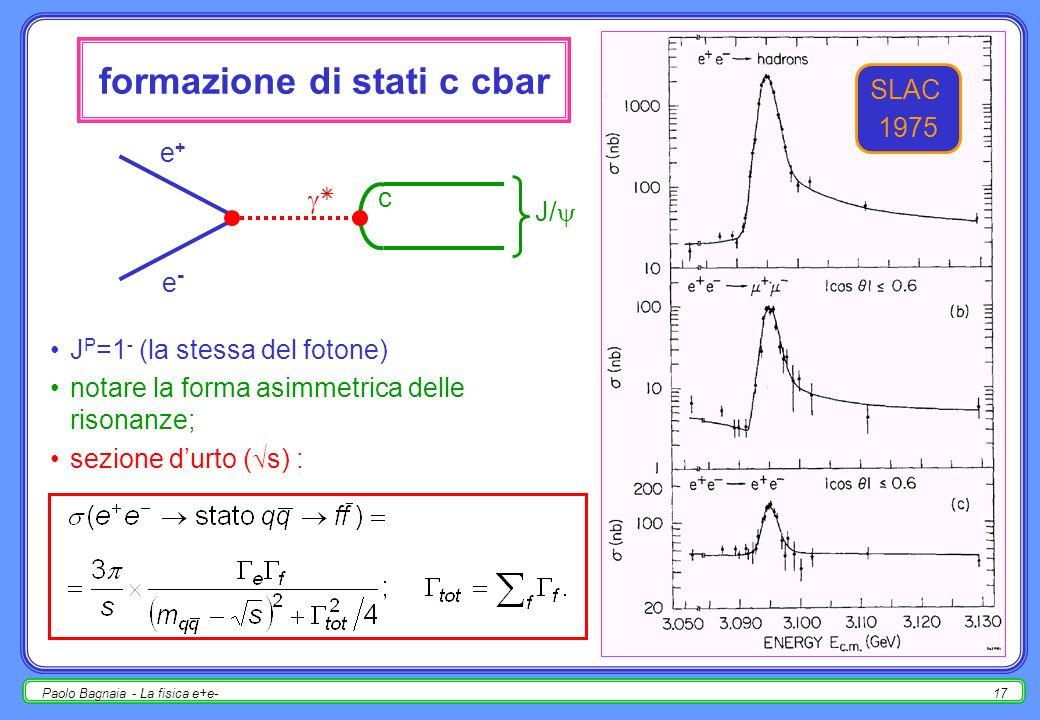 Paolo Bagnaia - La fisica e+e-16 R = R( s) notare : risonanze a 1-2 GeV; salto a 2m c (J/ ); salto a 2m b ( ); aumento lento a s > 45 GeV (Z); grande numero di rivelatori, acceleratori, …