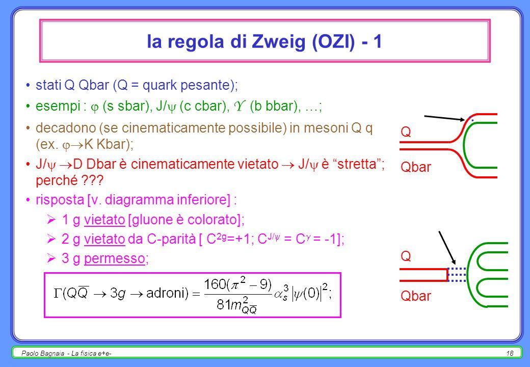 Paolo Bagnaia - La fisica e+e-17 formazione di stati c cbar J P =1 - (la stessa del fotone) notare la forma asimmetrica delle risonanze; sezione durto ( s) : SLAC 1975 e+e+ e-e- J/ c