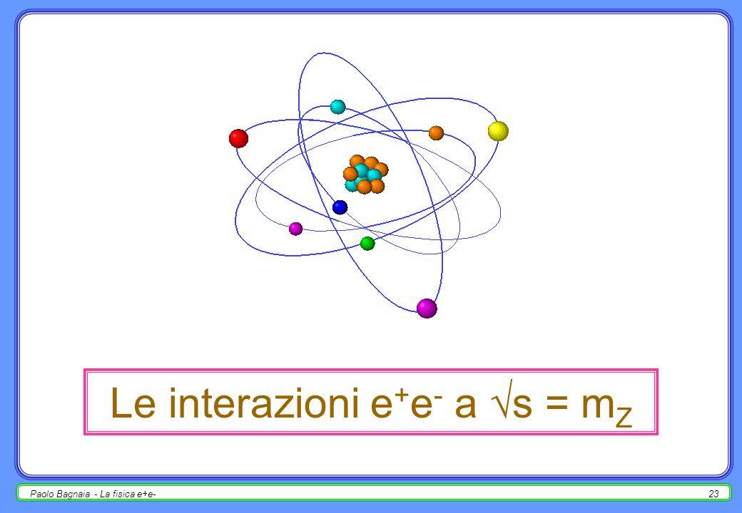 Paolo Bagnaia - La fisica e+e-22 eventi a tre jet talvolta, con probabilità s, uno dei due quark emette un gluone di bremsstrahlung, ad un angolo e con unenergia tale da produrre un jet distinto dai primi due eventi a tre jet; analogamente, 4-jet, 5-jet, …; di conseguenza : (2-jet) em 2 ; (3-jet) em 2 s ; … (3-jet) / (2-jet) s ; s può essre misurata dal rapporto 3-jet/2-jet [anche molti altri modi]; il valore elevato di s [O(10 -1 )] rende importanti gli ordini superiori delle interazioni forti; ciò vale tanto per i multi-jet, quanto per i gluoni emessi e riassorbiti nello stato finale (ex.