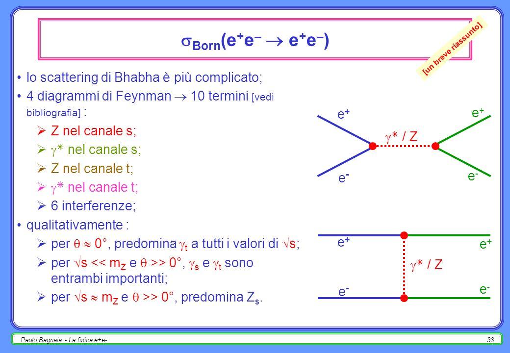 Paolo Bagnaia - La fisica e+e-32 asimmetria avanti-indietro definizione : (cos >0) – (cos <0) A ƒ FB = ; (cos >0) + (cos <0) al polo ( s=m Z ), per il solo diagramma con scambio di Z : con e ± di stato iniziale polarizzati, misurare anche A ƒ pol (SLD).