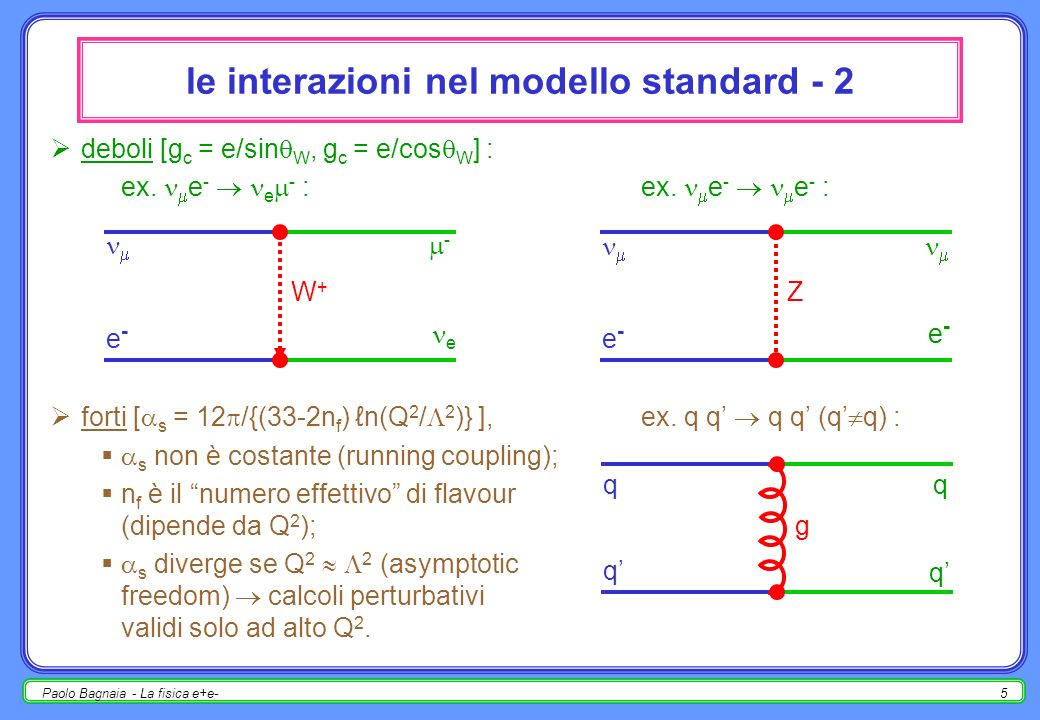 Paolo Bagnaia - La fisica e+e-15 R = (e + e - hadr.) / (e + e - + - ) di conseguenza, si definisce una quantità (facile da misurare + piena di significato) : R = (e + e - adroni) / (e + e - + - ) = i 3 Q i 2 = R( s); somma su tutti i quark che possono essere prodotti ad un dato valore di s : 0< s < 2 m c R = R uds = 3 × [ ( 2 / 3 ) 2 + ( -1 / 3 ) 2 + ( -1 / 3 ) 2 ]= 2; 2 m c < s < 2 m b R = R udsc = R uds + 3 × ( 2 / 3 ) 2 = 3 + 1 / 3 ; 2 m b < s < 2 m t R = R udscb = R udsc + 3 × ( -1 / 3 ) 2 = 3 + 2 / 3 ; 2 m t < s < R = R udscbt = R udscb + 3 × ( 2 / 3 ) 2 = 5 [no, v.