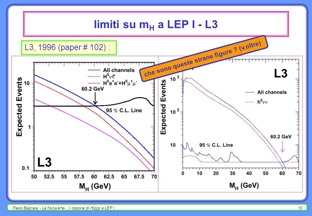 Paolo Bagnaia - La fisica e+e- : il bosone di Higgs a LEP I9 misura della massa m H b bbar : m H 2 = m bb 2 : calcolabile dalla misura dei b-jet massa