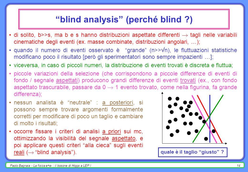 Paolo Bagnaia - La fisica e+e- : il bosone di Higgs a LEP I13 la fisica delle ricerche preliminare : esiste un modello (ex. SM, SUSY, etc.) che predic