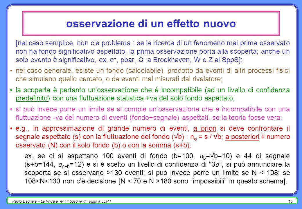Paolo Bagnaia - La fisica e+e- : il bosone di Higgs a LEP I14 blind analysis (perché blind ?) di solito, b>>s, ma b e s hanno distribuzioni aspettate