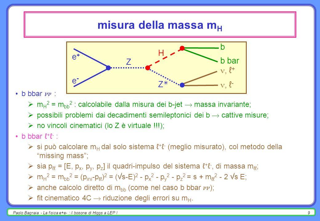 Paolo Bagnaia - La fisica e+e- : il bosone di Higgs a LEP I8 per m H >10 GeV, i canali di ricerca dominante sono b bbar + -, b bbar ; limitare la rice