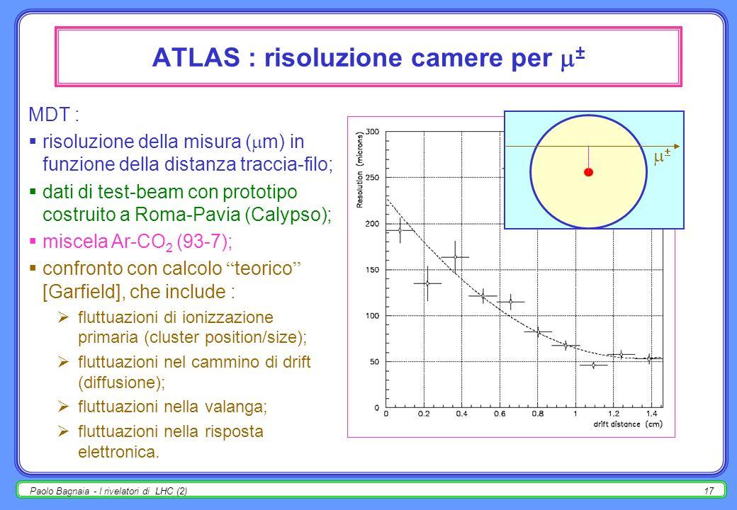 Paolo Bagnaia - I rivelatori di LHC (2)16 ATLAS : camere per ± Calypso, costruita a Roma-Pavia; prototipo camera MDT per ± ; in presa dati al CERN per