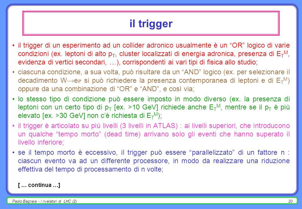 Paolo Bagnaia - I rivelatori di LHC (2)19 ATLAS : trigger ± p T trigger : in un campo magnetico, piccola curvatura alto impulso; ricerca di segnali al