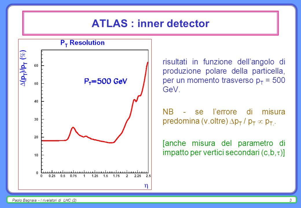 Paolo Bagnaia - I rivelatori di LHC (2)13 ATLAS : ± nel barrel (centrale) un ± attraversa 3 camere + 3 RPC; in media, B d = 3 Tm; 3 livelli (cilindri) di camere : interne :4+4 strati di tubi; medie :3+3 strati, 2 RPC; esterne :3+3 strati, 1 RPC; camere di trigger (RPC) : (vedi sopra).