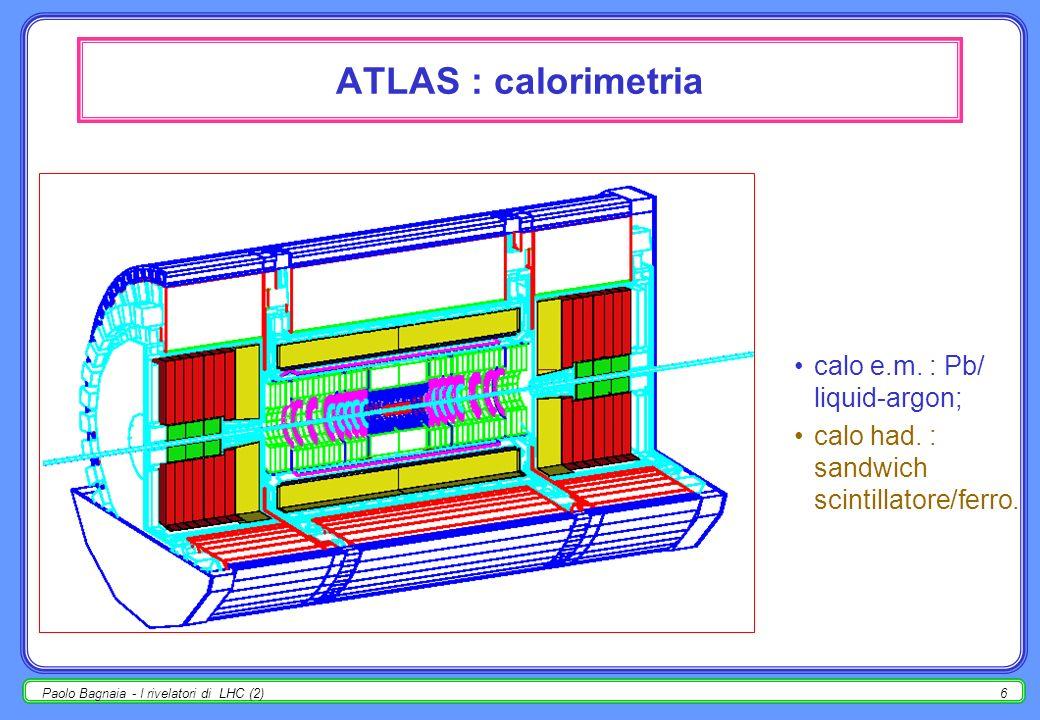 Paolo Bagnaia - I rivelatori di LHC (2)16 ATLAS : camere per ± Calypso, costruita a Roma-Pavia; prototipo camera MDT per ± ; in presa dati al CERN per due anni ad un test beam.