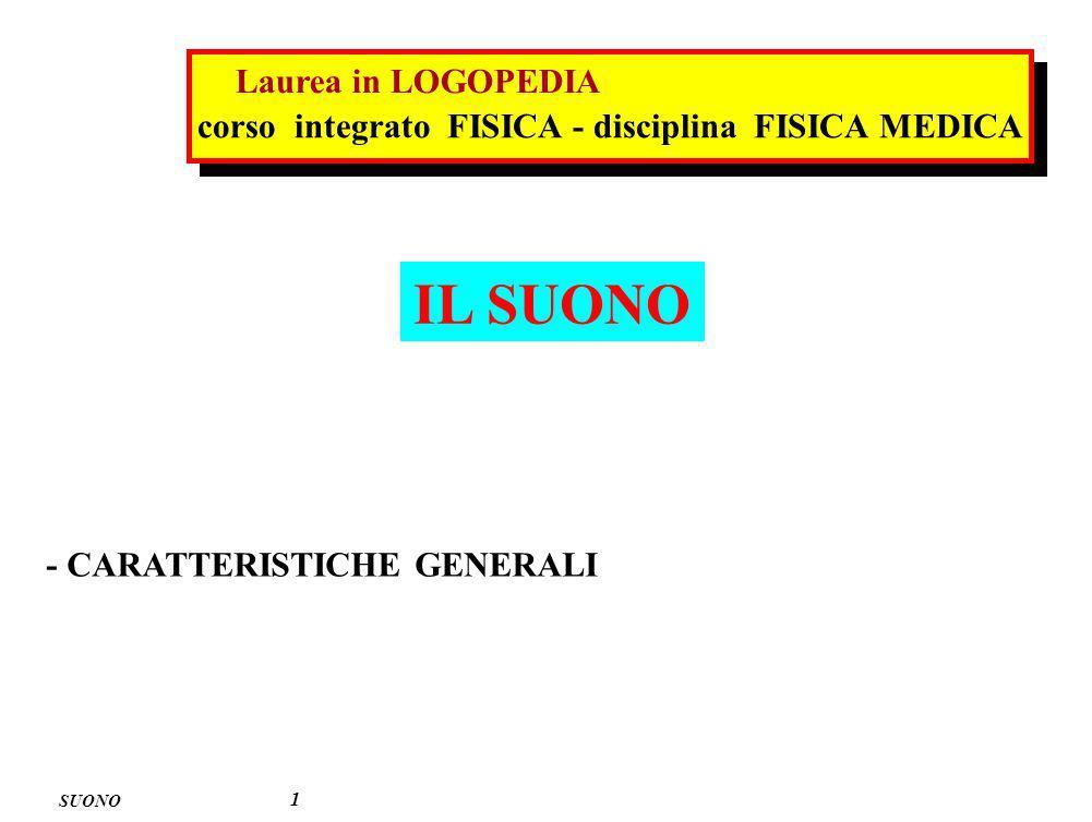 IL SUONO SUONO 1 - CARATTERISTICHE GENERALI corso integrato FISICA - disciplina FISICA MEDICA Laurea in LOGOPEDIA
