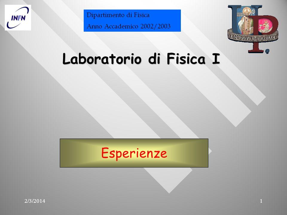 2/3/20141 Laboratorio di Fisica I Esperienze Dipartimento di Fisica Anno Accademico 2002/2003