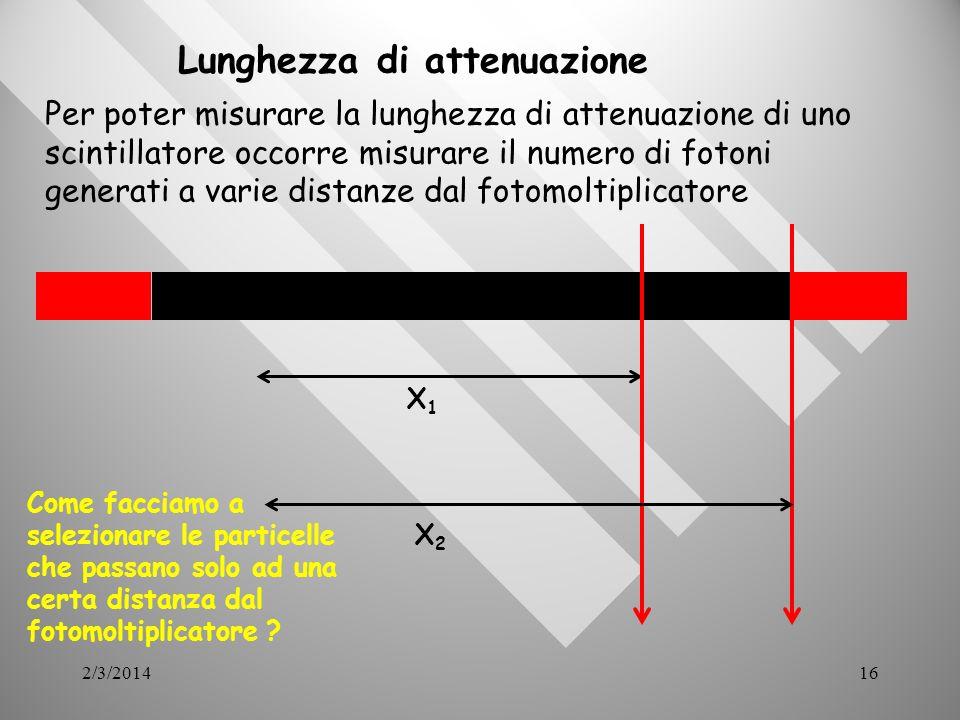 2/3/201416 Lunghezza di attenuazione Per poter misurare la lunghezza di attenuazione di uno scintillatore occorre misurare il numero di fotoni generati a varie distanze dal fotomoltiplicatore X1X1 X2X2 Come facciamo a selezionare le particelle che passano solo ad una certa distanza dal fotomoltiplicatore