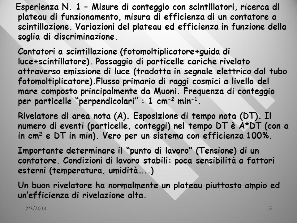 2/3/201413 Misure di tempo - velocità caratteristiche acrilicoScintillatore n = 1.58 PMT glass n = 1.5 Large-angle ray lost