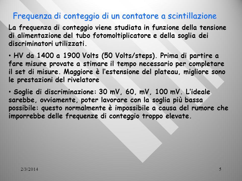 2/3/20145 Frequenza di conteggio di un contatore a scintillazione Frequenza di conteggio di un contatore a scintillazione La frequenza di conteggio viene studiata in funzione della tensione di alimentazione del tubo fotomoltiplicatore e della soglia dei discriminatori utilizzati.