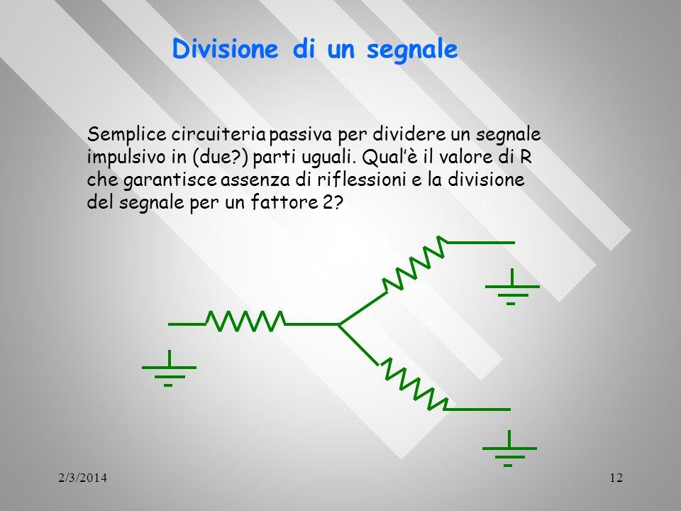 2/3/201412 Divisione di un segnale Semplice circuiteria passiva per dividere un segnale impulsivo in (due?) parti uguali. Qualè il valore di R che gar