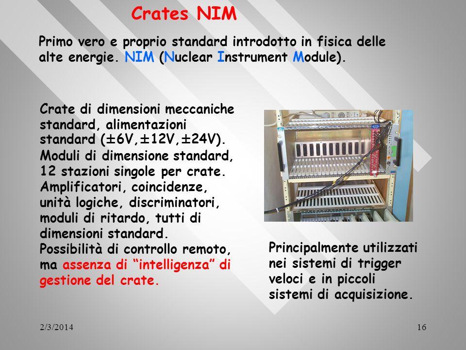 2/3/201416 Crates NIM Primo vero e proprio standard introdotto in fisica delle alte energie. NIM (Nuclear Instrument Module). Crate di dimensioni mecc