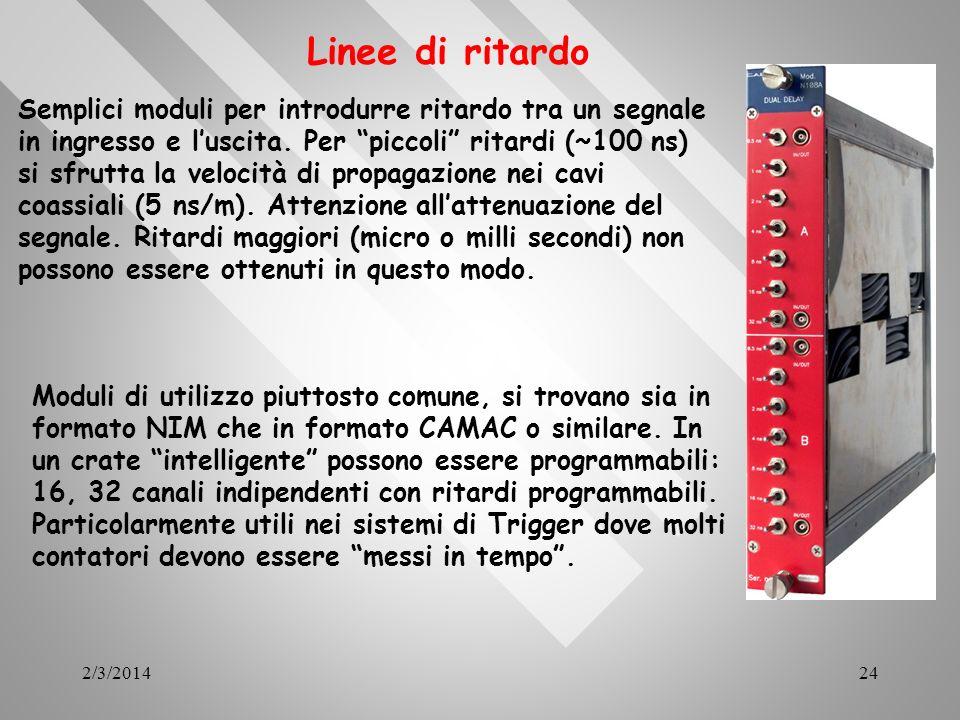 2/3/201424 Linee di ritardo Moduli di utilizzo piuttosto comune, si trovano sia in formato NIM che in formato CAMAC o similare. In un crate intelligen
