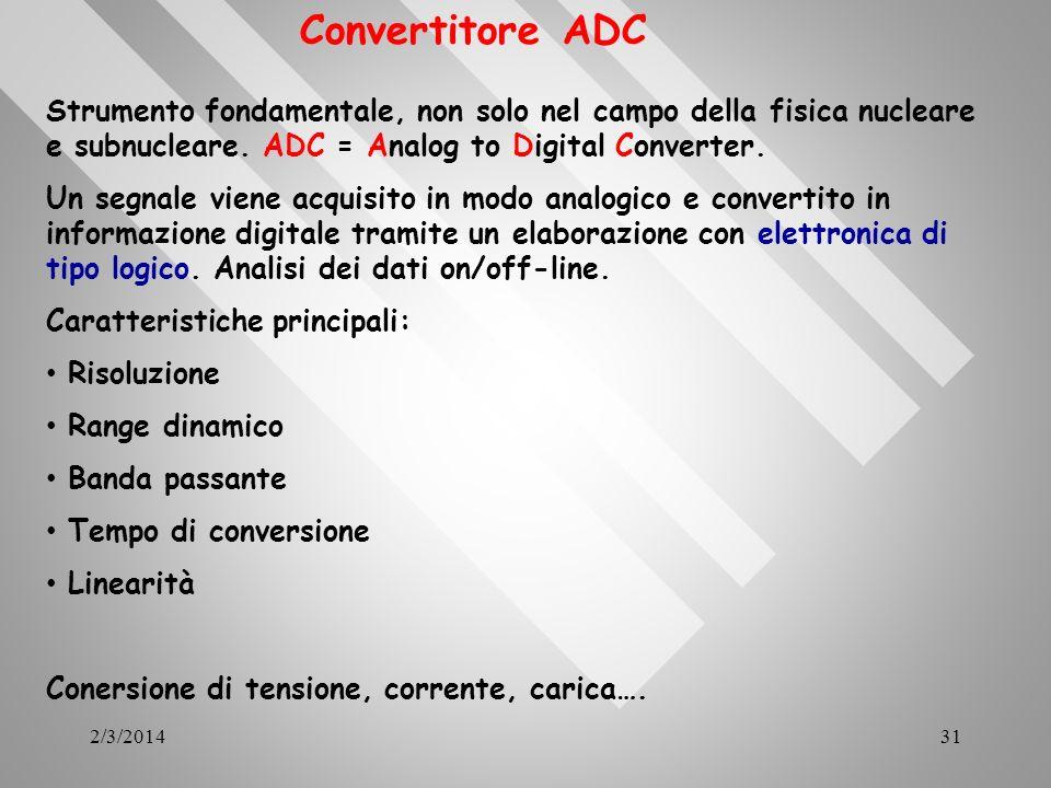 2/3/201431 Convertitore ADC Strumento fondamentale, non solo nel campo della fisica nucleare e subnucleare. ADC = Analog to Digital Converter. Un segn