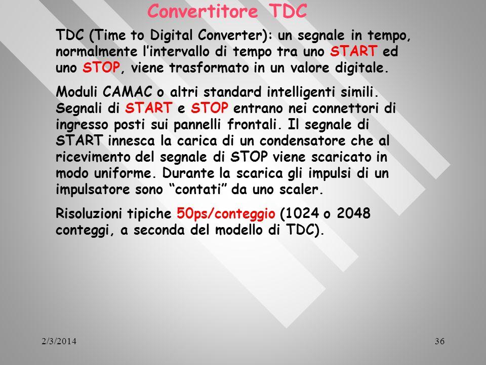 2/3/201436 Convertitore TDC TDC (Time to Digital Converter): un segnale in tempo, normalmente lintervallo di tempo tra uno START ed uno STOP, viene tr