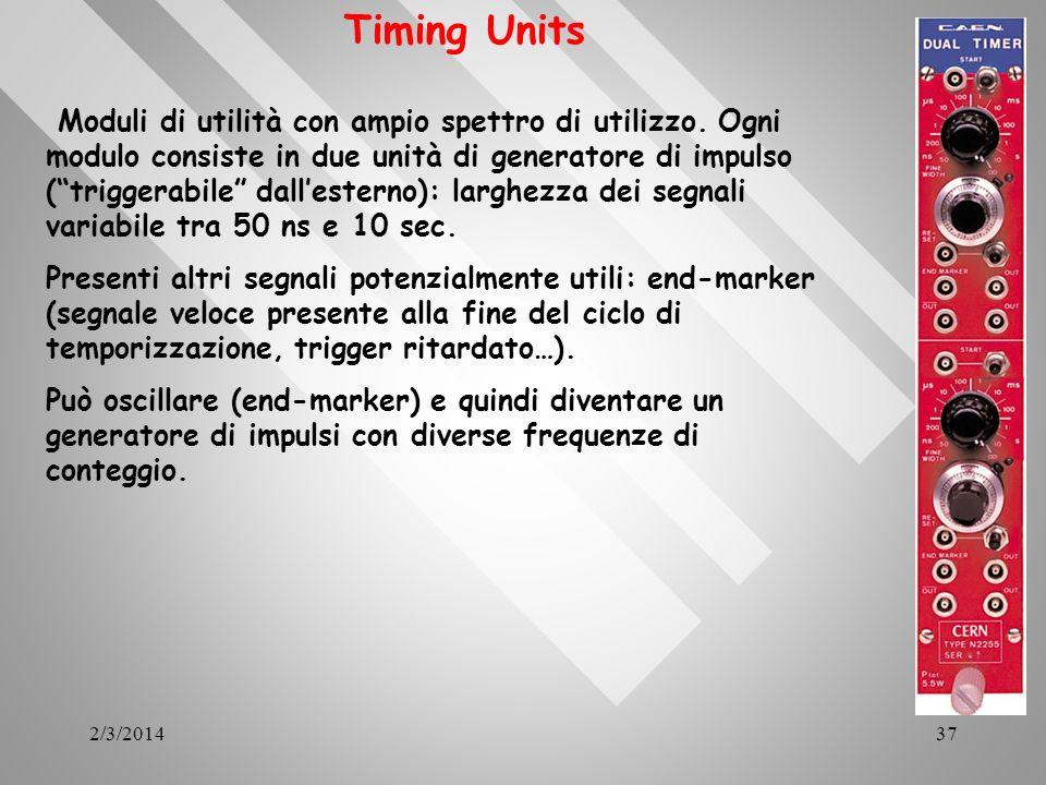 2/3/201437 Timing Units Moduli di utilità con ampio spettro di utilizzo. Ogni modulo consiste in due unità di generatore di impulso (triggerabile dall