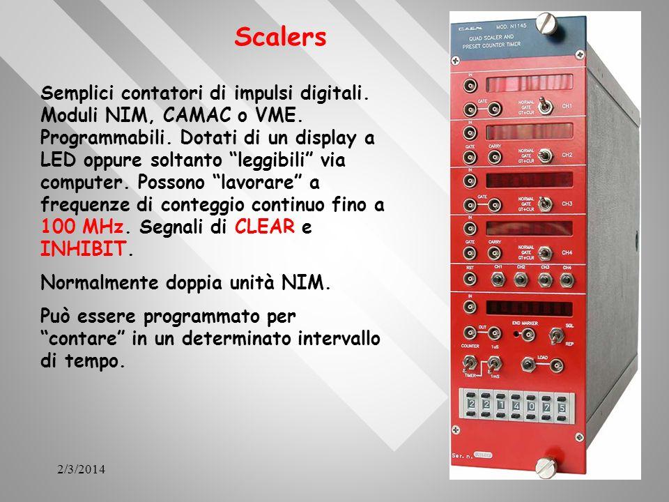 2/3/201438 Scalers Semplici contatori di impulsi digitali. Moduli NIM, CAMAC o VME. Programmabili. Dotati di un display a LED oppure soltanto leggibil