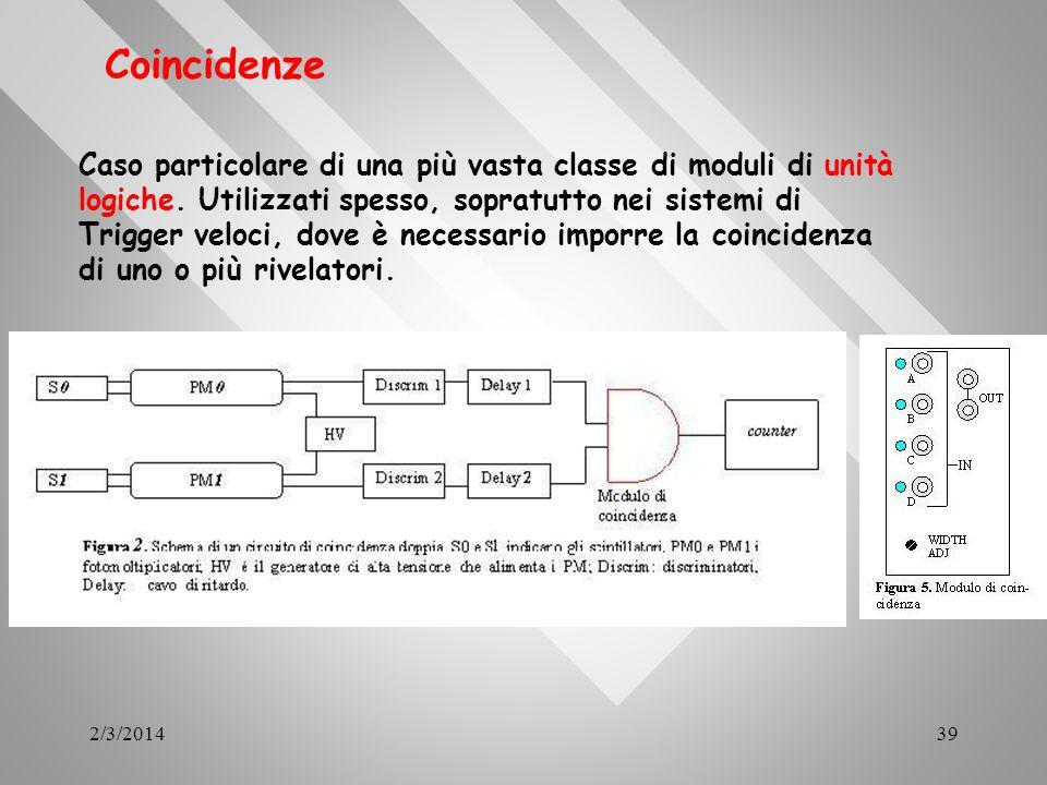 2/3/201439 Coincidenze Caso particolare di una più vasta classe di moduli di unità logiche. Utilizzati spesso, sopratutto nei sistemi di Trigger veloc