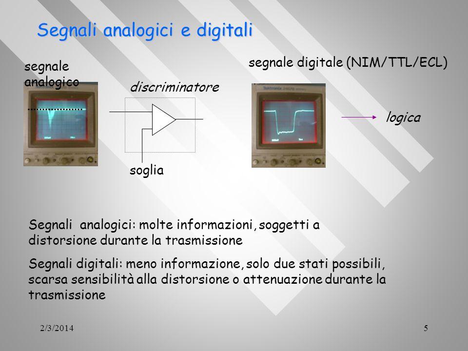 2/3/20145 Segnali analogici e digitali Segnali analogici e digitali segnale analogico segnale digitale (NIM/TTL/ECL) soglia discriminatore logica Segn
