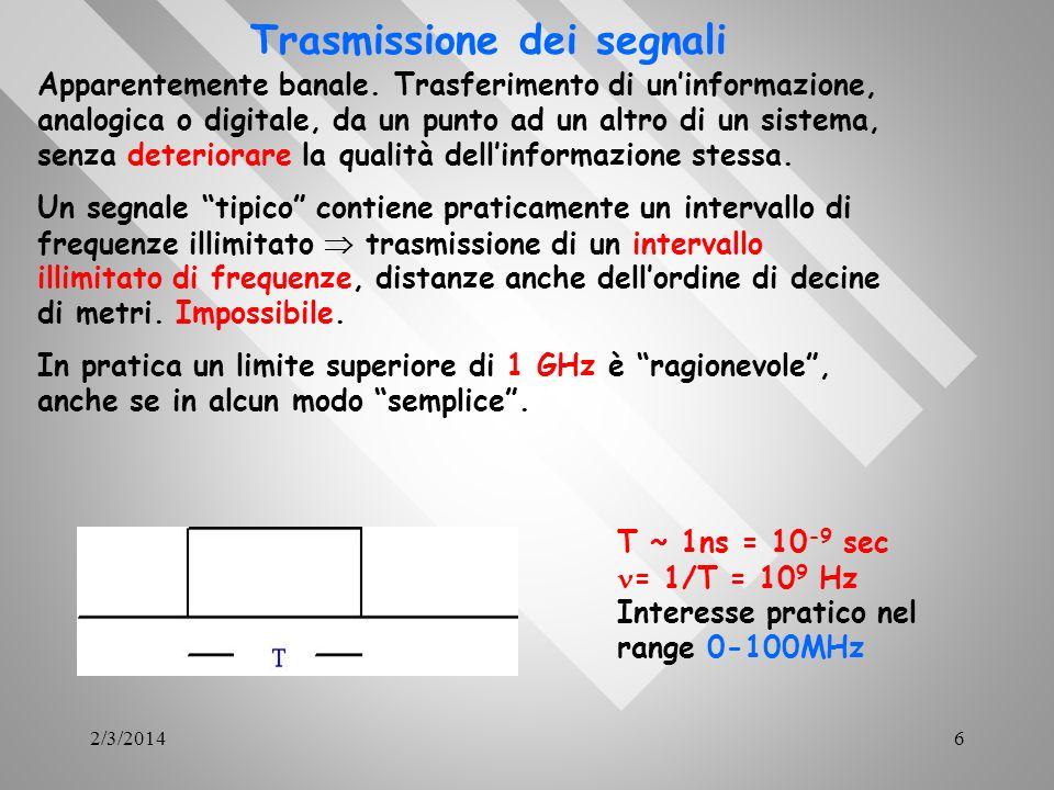 2/3/20146 Trasmissione dei segnali Apparentemente banale. Trasferimento di uninformazione, analogica o digitale, da un punto ad un altro di un sistema