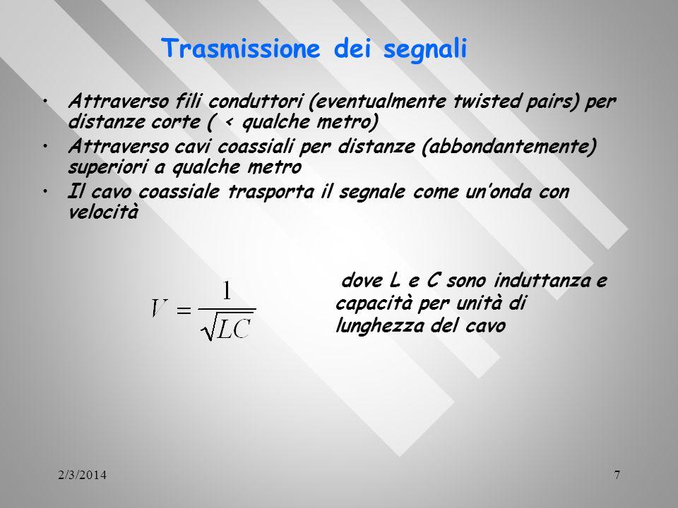 2/3/20147 Attraverso fili conduttori (eventualmente twisted pairs) per distanze corte ( < qualche metro) Attraverso cavi coassiali per distanze (abbon