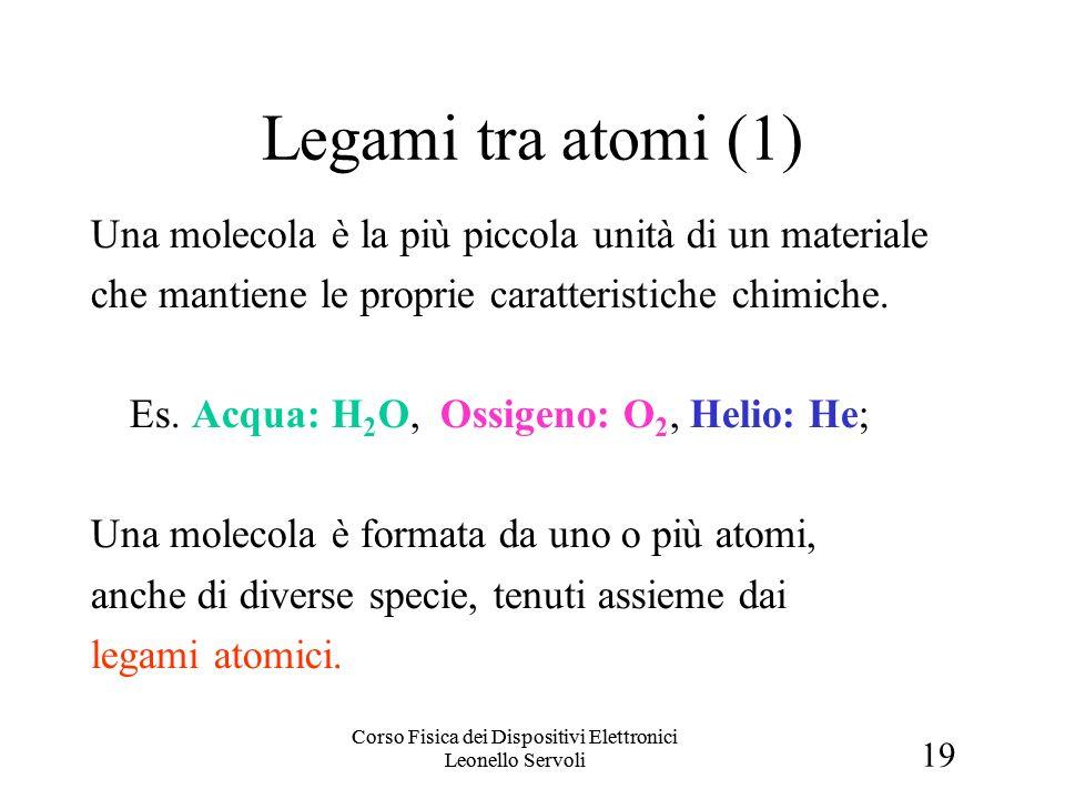 19 Corso Fisica dei Dispositivi Elettronici Leonello Servoli Legami tra atomi (1) Una molecola è la più piccola unità di un materiale che mantiene le proprie caratteristiche chimiche.