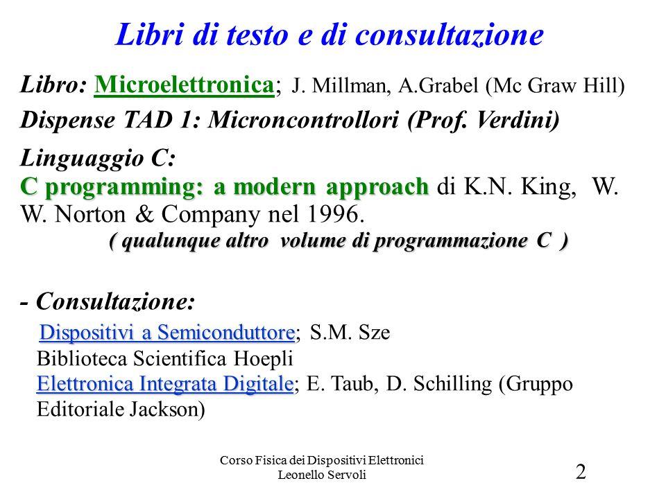2 Corso Fisica dei Dispositivi Elettronici Leonello Servoli Libri e Orari Libro: Microelettronica; J. Millman, A.Grabel (Mc Graw Hill) Dispense TAD 1: