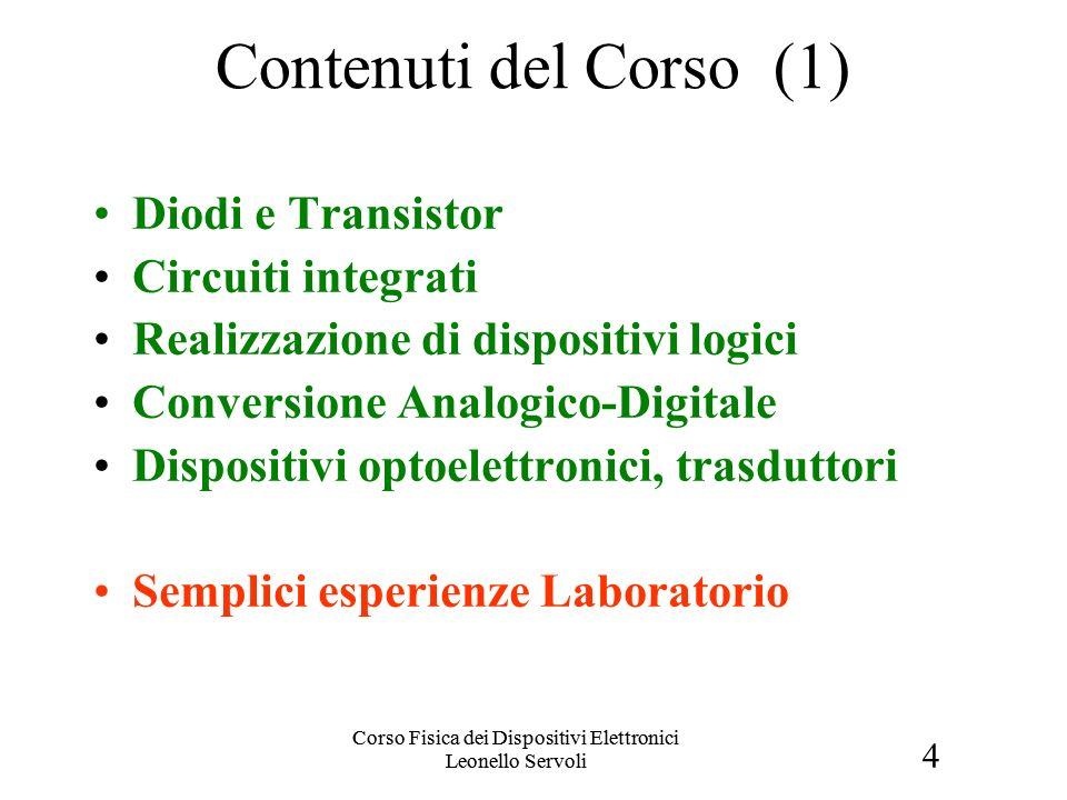 4 Corso Fisica dei Dispositivi Elettronici Leonello Servoli Contenuti del Corso (1) Diodi e Transistor Circuiti integrati Realizzazione di dispositivi