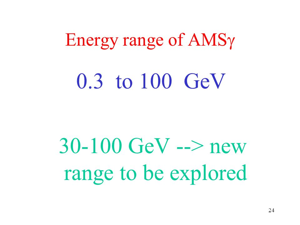 24 Energy range of AMS 0.3 to 100 GeV GeV --> new range to be explored