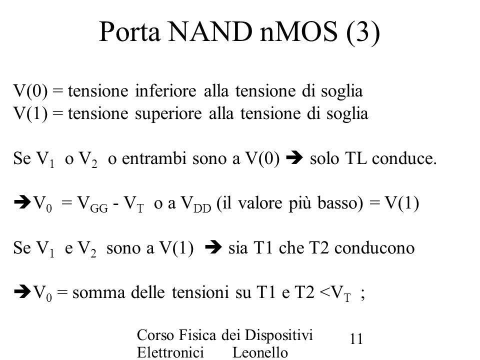 Corso Fisica dei Dispositivi Elettronici Leonello Servoli 11 Porta NAND nMOS (3) V(0) = tensione inferiore alla tensione di soglia V(1) = tensione sup