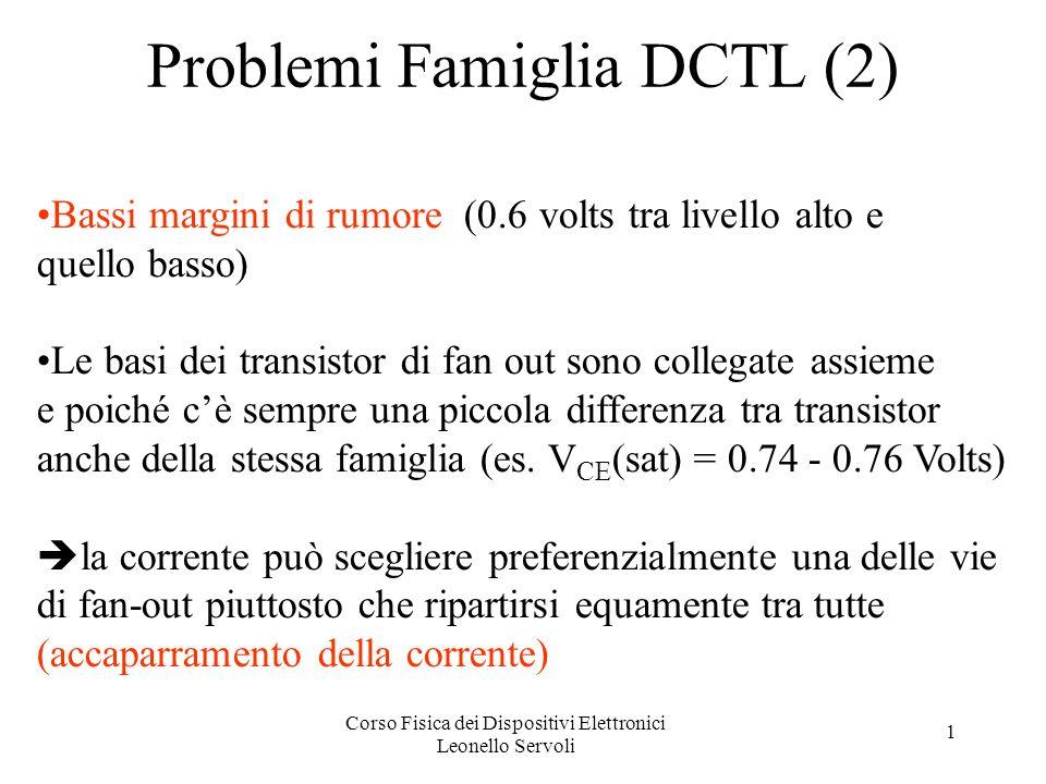 Corso Fisica dei Dispositivi Elettronici Leonello Servoli 1 Problemi Famiglia DCTL (2) Bassi margini di rumore (0.6 volts tra livello alto e quello basso) Le basi dei transistor di fan out sono collegate assieme e poiché cè sempre una piccola differenza tra transistor anche della stessa famiglia (es.