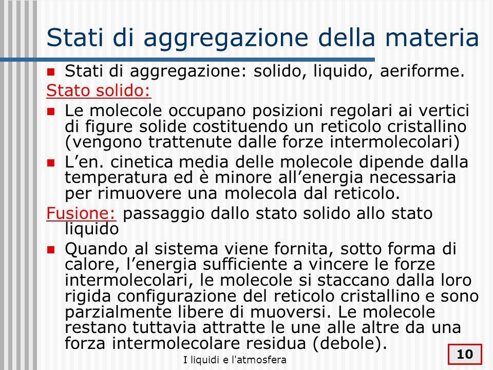 I liquidi e l'atmosfera 10 Stati di aggregazione della materia Stati di aggregazione: solido, liquido, aeriforme. Stato solido: Le molecole occupano p