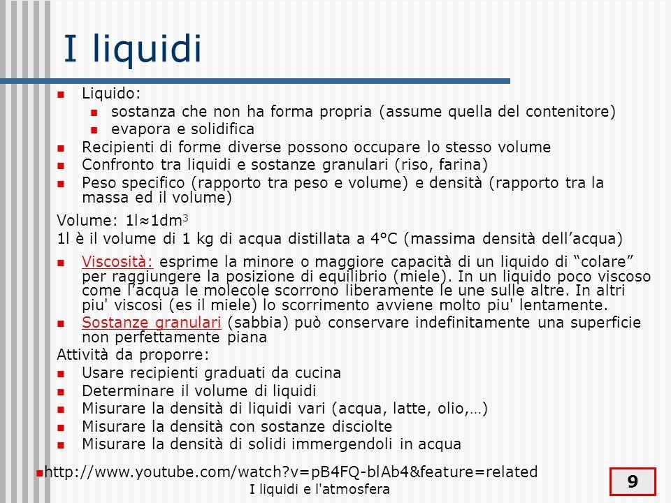 9 I liquidi Liquido: sostanza che non ha forma propria (assume quella del contenitore) evapora e solidifica Recipienti di forme diverse possono occupa