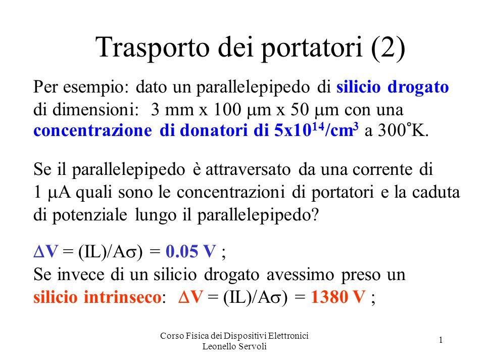 Corso Fisica dei Dispositivi Elettronici Leonello Servoli 1 Trasporto dei portatori (2) Per esempio: dato un parallelepipedo di silicio drogato di dimensioni: 3 mm x 100 m x 50 m con una concentrazione di donatori di 5x10 14 /cm 3 a 300°K.