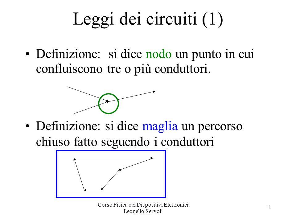 Corso Fisica dei Dispositivi Elettronici Leonello Servoli 1 Leggi dei circuiti (1) Definizione: si dice nodo un punto in cui confluiscono tre o più co