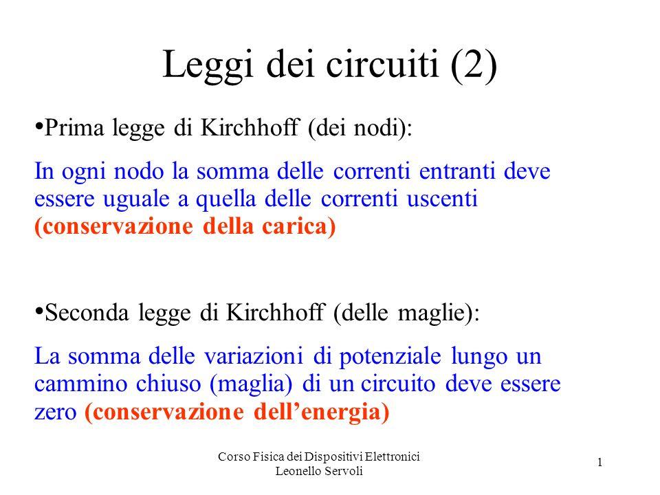 Corso Fisica dei Dispositivi Elettronici Leonello Servoli 1 Leggi dei circuiti (2) Prima legge di Kirchhoff (dei nodi): In ogni nodo la somma delle correnti entranti deve essere uguale a quella delle correnti uscenti (conservazione della carica) Seconda legge di Kirchhoff (delle maglie): La somma delle variazioni di potenziale lungo un cammino chiuso (maglia) di un circuito deve essere zero (conservazione dellenergia)