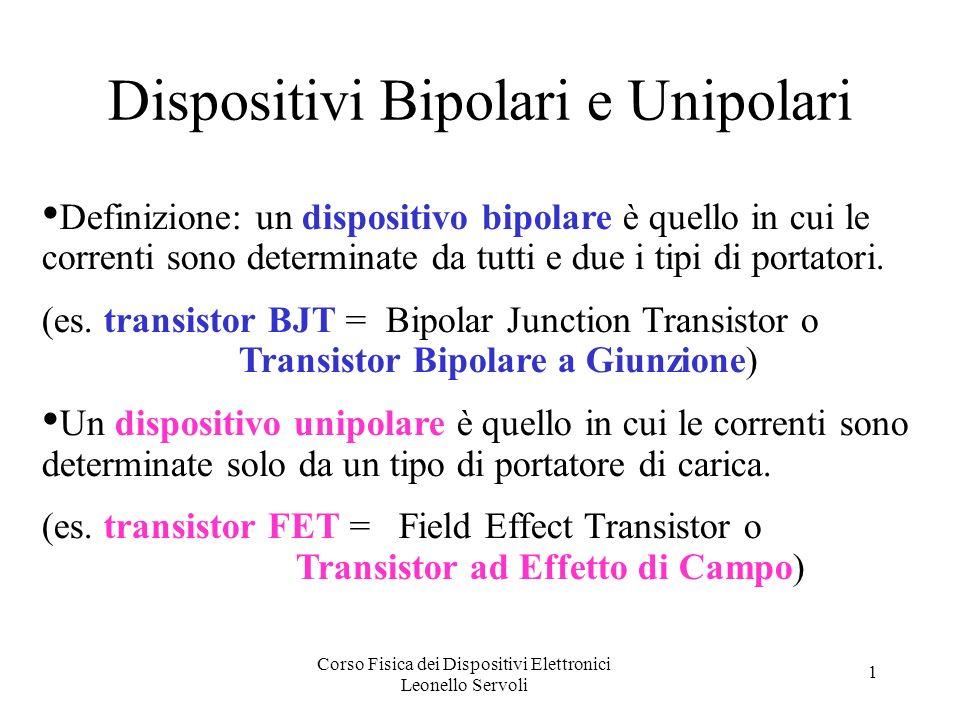 Corso Fisica dei Dispositivi Elettronici Leonello Servoli 1 Dispositivi Bipolari e Unipolari Definizione: un dispositivo bipolare è quello in cui le correnti sono determinate da tutti e due i tipi di portatori.