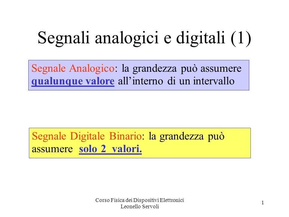 Corso Fisica dei Dispositivi Elettronici Leonello Servoli 1 Segnali analogici e digitali (1) Segnale Analogico: la grandezza può assumere qualunque valore allinterno di un intervallo Segnale Digitale Binario: la grandezza può assumere solo 2 valori.