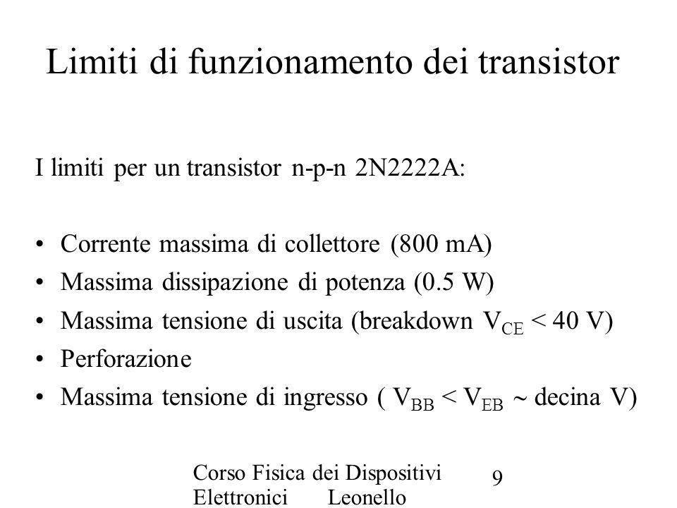 Corso Fisica dei Dispositivi Elettronici Leonello Servoli 9 Limiti di funzionamento dei transistor I limiti per un transistor n-p-n 2N2222A: Corrente