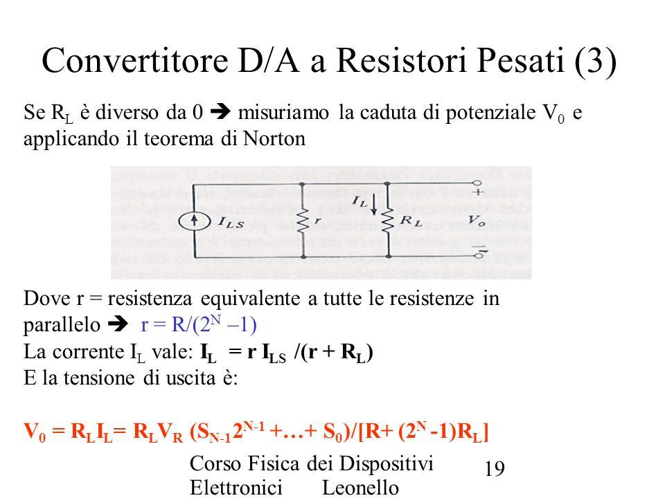 Corso Fisica dei Dispositivi Elettronici Leonello Servoli 19 Se R L è diverso da 0 misuriamo la caduta di potenziale V 0 e applicando il teorema di No