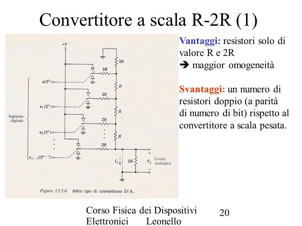 Corso Fisica dei Dispositivi Elettronici Leonello Servoli 20 Convertitore a scala R-2R (1) Vantaggi: resistori solo di valore R e 2R maggior omogeneit
